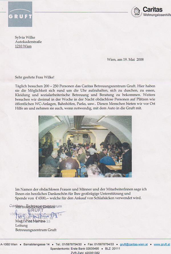 Spendenbilanz 2008: Spenden an die gruft