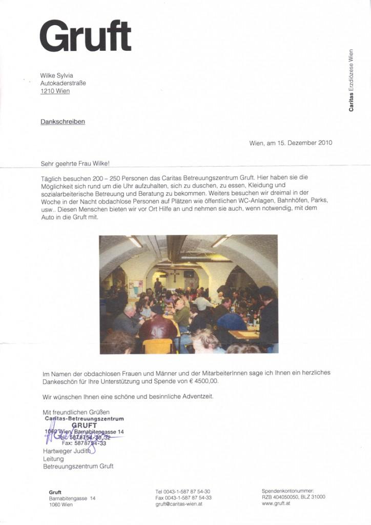 Spenden für Obdachlose / Gruft - 2010
