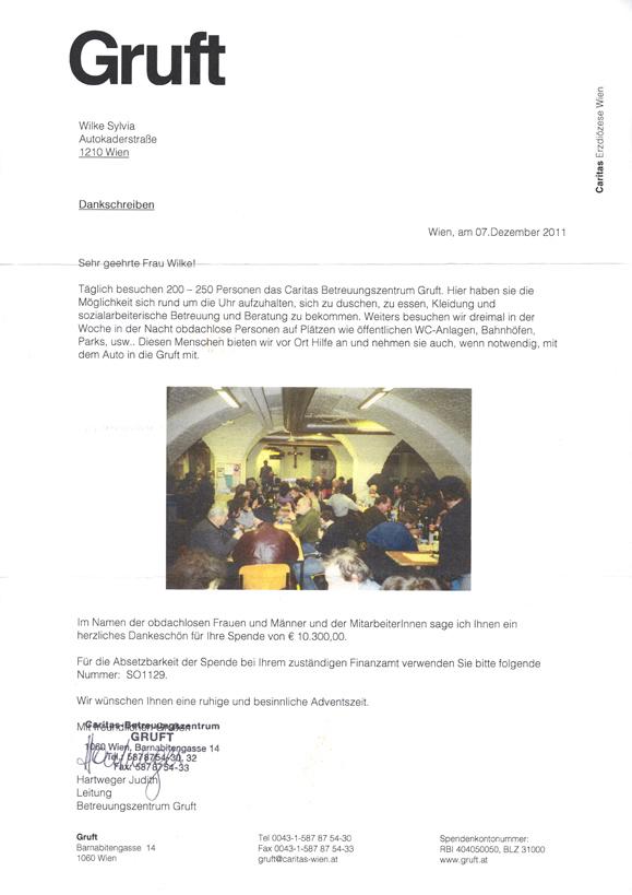 2011: Ihre Bücher und Ihre Spenden zugunsten der Gruft