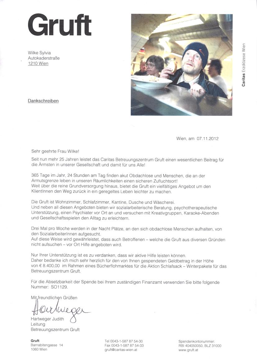 Sozialflohmarkt Spenden 2012: EUR 8.400,00 für Obdachlose